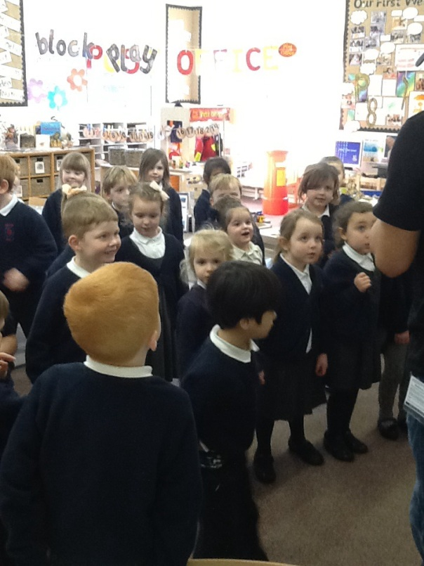 The children in class RD performing their Banana Poem with Curtis - lots of fun was had by all.