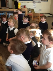 3.2.15. Curtis talks to the afternoon Nursery children about the banana boats coming into Garston. The children are learning a song about bananas.