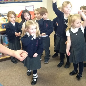 Afternoon Nursery are practising their poem about bananas with Curtis